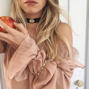 For Love & Lemons Evie Button Blouse in Champagne